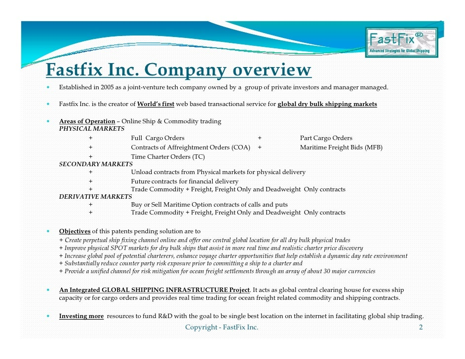 Fastfix Company Presentation