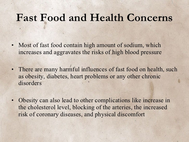 effects on fast food essay Free essays on harmful effects of junk food  common junk foods include salted snack foods, gum, candy, sweet desserts, fried fast food, and carbonated beverages.