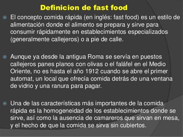 Fast food for Definicion de gastronomia