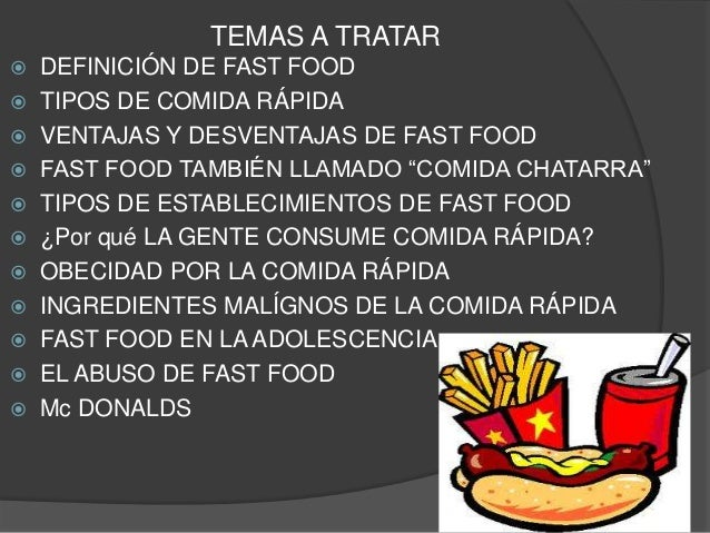 Fast food comida rapida for Definicion de gastronomia pdf