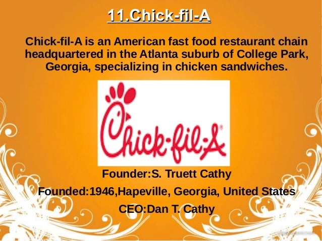 Best Fast Food Restaurant Chains In The World