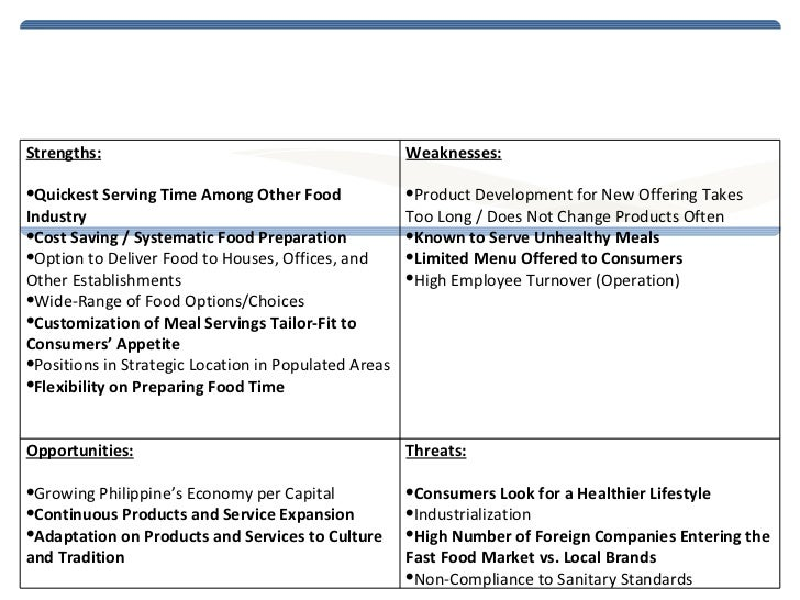 chowking swot analysis Swot analysis of chowking another part of the report is a swot-analysis carried out  p & g - procter & gamble swot analysis adam june 4, 2010 consumer goods 1.