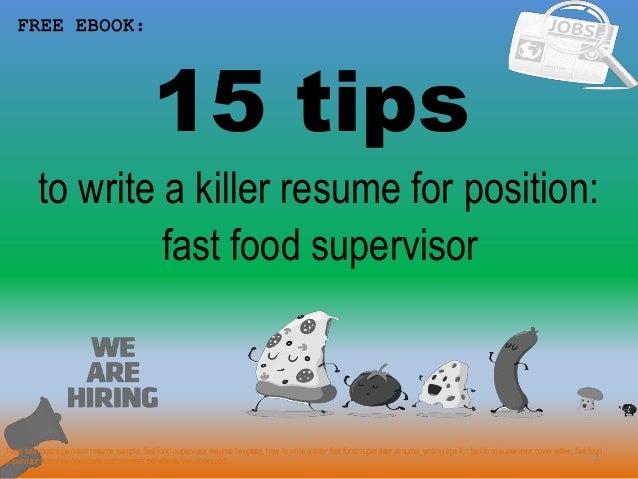Fast Food Supervisor Resume Sample Pdf Ebook Free Download