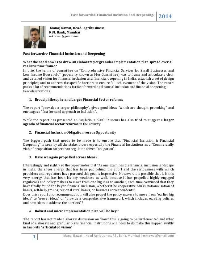 Fast forward>> Financial Inclusion and Deepening? 2014 1 Manoj Rawat | Head Agribusiness RBL Bank, Mumbai | mkrawat@gmail....