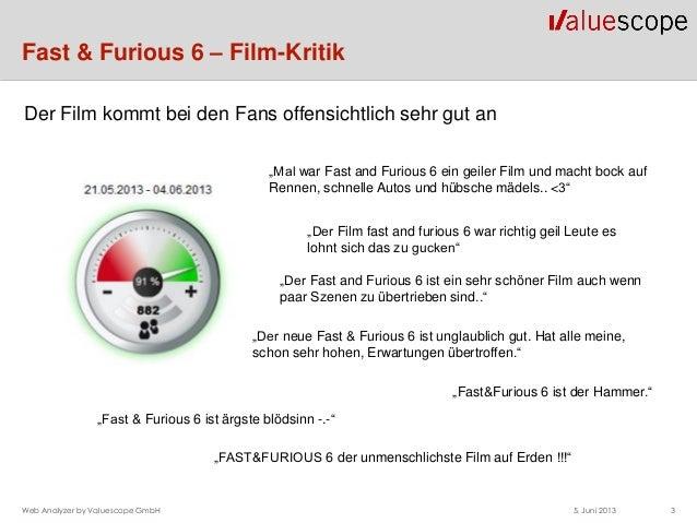 Fast & Furious 6 – Film-Kritik5. Juni 2013 3Web Analyzer by Valuescope GmbHDer Film kommt bei den Fans offensichtlich sehr...