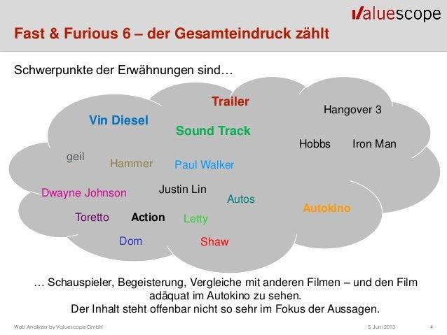 Fast & Furious 6 – der Gesamteindruck zählt5. Juni 2013 4Web Analyzer by Valuescope GmbHTrailerVin DieselSound TrackgeilTo...