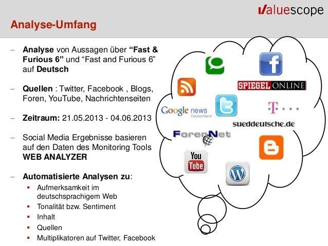 """Analyse-Umfang Analyse von Aussagen über """"Fast &Furious 6"""" und """"Fast and Furious 6""""auf Deutsch Quellen : Twitter, Facebo..."""