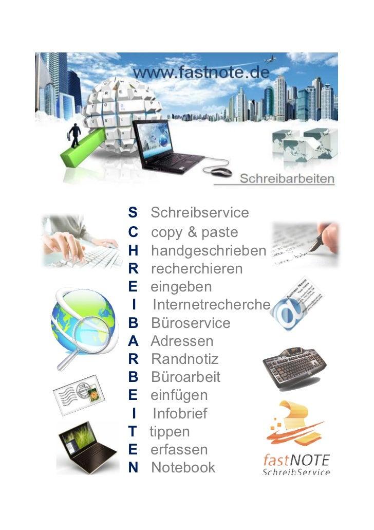 S   SchreibserviceC   copy & pasteH   handgeschriebenR   recherchierenE   eingebenI    InternetrechercheB   BüroserviceA  ...