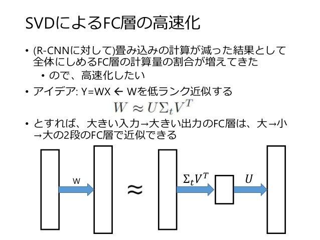 SVDによるFC層の高速化 • (R-CNNに対して)畳み込みの計算が減った結果として 全体にしめるFC層の計算量の割合が増えてきた • ので、高速化したい • アイデア: Y=WX  Wを低ランク近似する • とすれば、大きい入力→大きい出...
