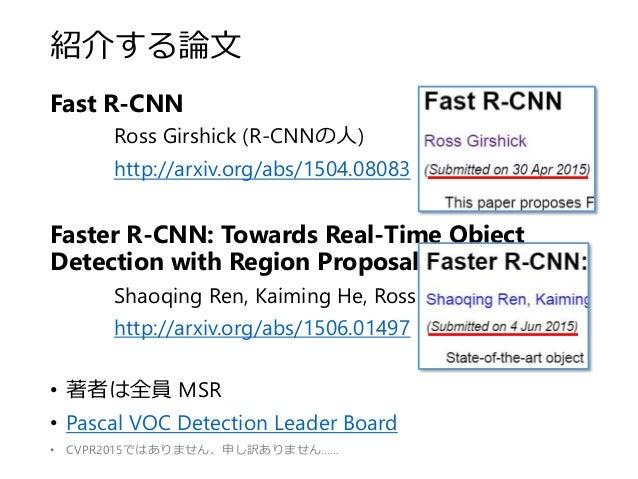 紹介する論文 Fast R-CNN Ross Girshick (R-CNNの人) http://arxiv.org/abs/1504.08083 Faster R-CNN: Towards Real-Time Object Detection...
