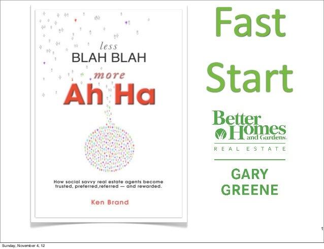 Fast%                         Start                                 1Sunday, November 4, 12