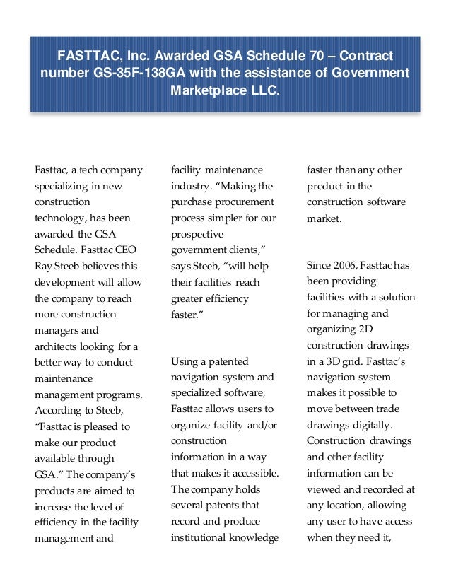 FASTTAC, Inc  awarded GSA Schedule 70 with the assistance of
