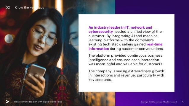 Elevate every decision with digital inside sales Copyright © 2021 Accenture. All rights reserved. 16 An industry leader in...