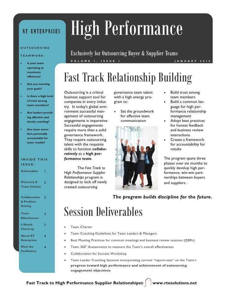 RT ENTERPRISES               High Performance OUTSOURCING  TEAMWORK:                        Exclusively for Outsourcing Bu...