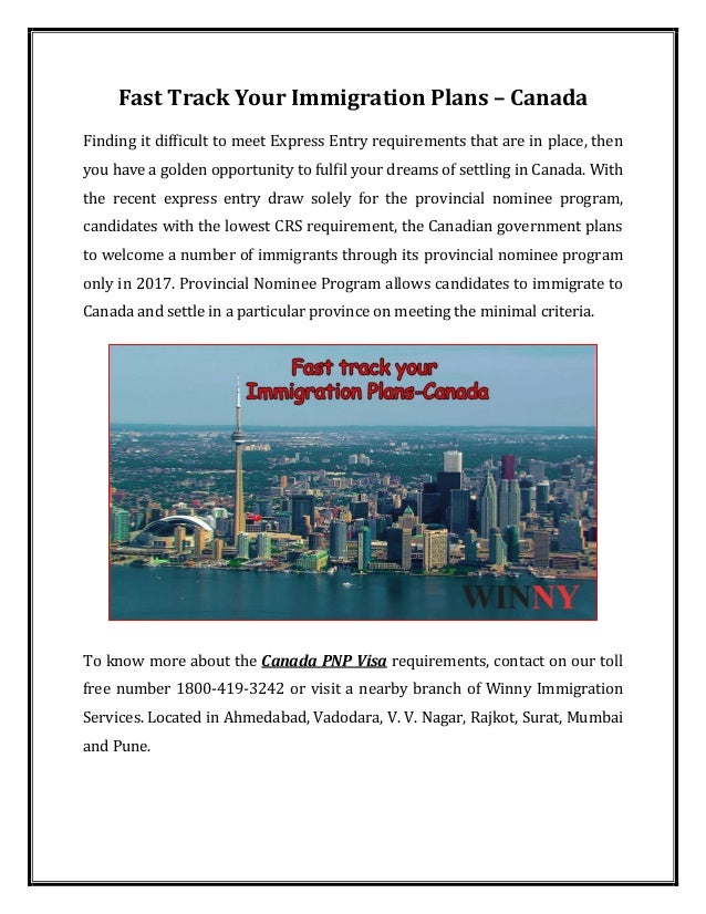 Fast track your immigration plans canada