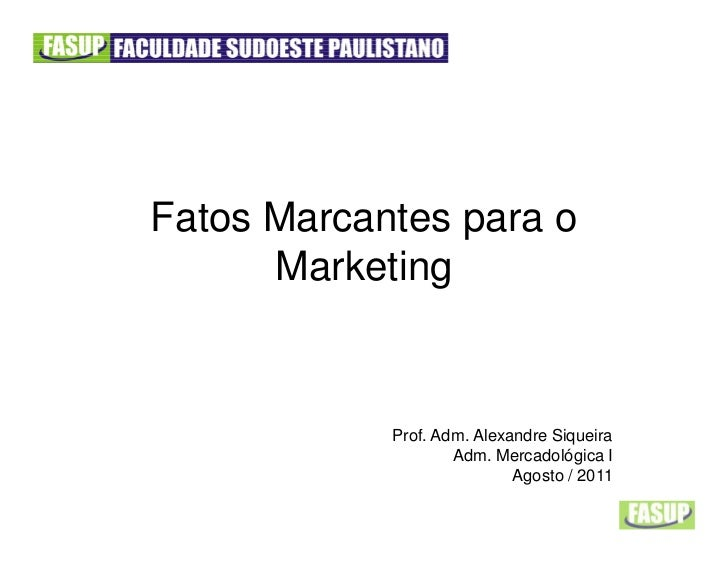 Fatos Marcantes para o      Marketing            Prof. Adm. Alexandre Siqueira                    Adm. Mercadológica I    ...