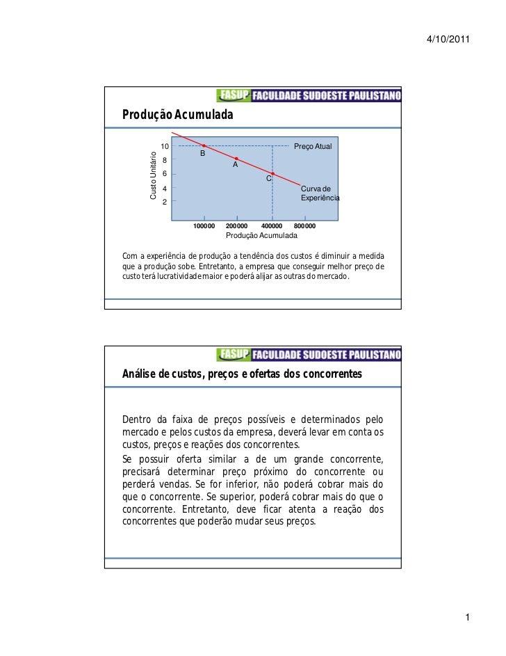 4/10/2011Produção Acumulada                        10                              Preço Atual       Custo Unitário       ...