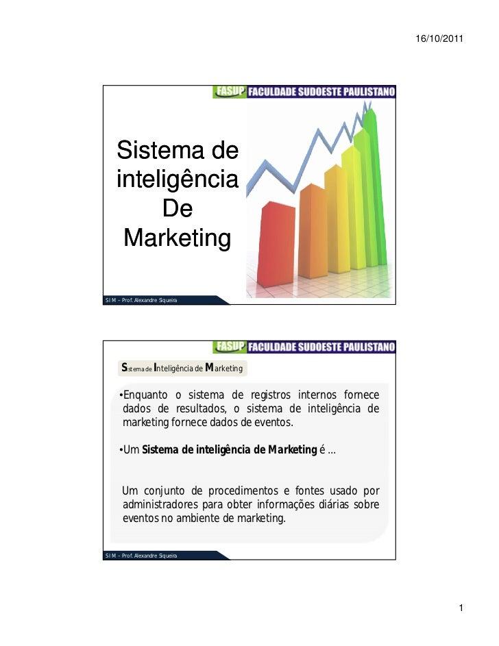 16/10/2011    Sistema de    inteligência         De     MarketingS I M – Prof. Alexandre Siqueira      Sistema de Inteligê...
