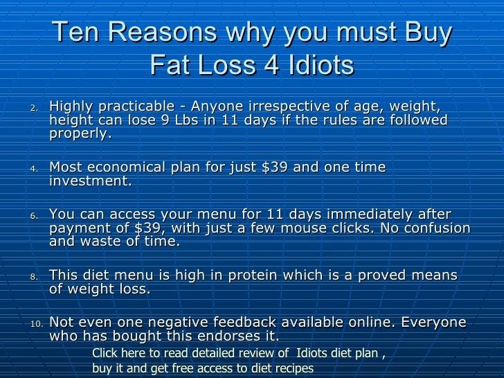 Fat Loss 4 Idiots Free Menu