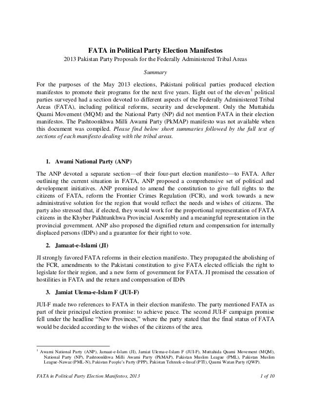 FATA in Political Party Election Manifestos, 2013 1 of 10FATA in Political Party Election Manifestos2013 Pakistan Party Pr...