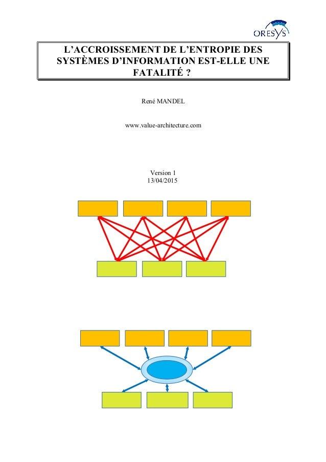L'ACCROISSEMENT DE L'ENTROPIE DES SYSTÈMES D'INFORMATION EST-ELLE UNE FATALITÉ ? René MANDEL www.value-architecture.com Ve...