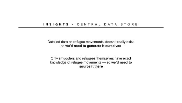 I N S I G H T S - C E N T R A L D A T A S T O R E Detailed data on refugee movements, doesn't really exist; so we'd need t...