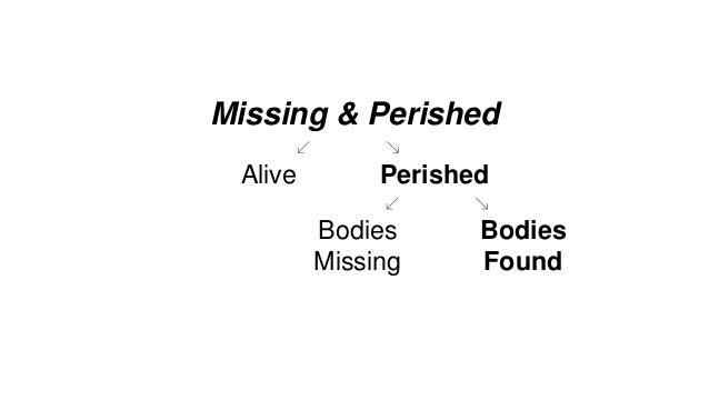 PerishedAlive Missing & Perished Bodies Found Bodies Missing