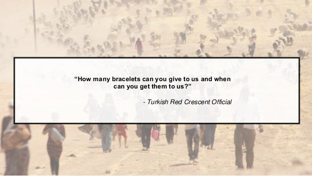 "z ""How many bracelets can you give to us and when can you get them to us?"" - Turkish Red Crescent Official"