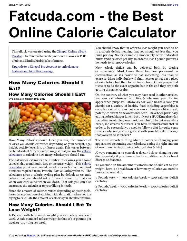 online calorie calculator