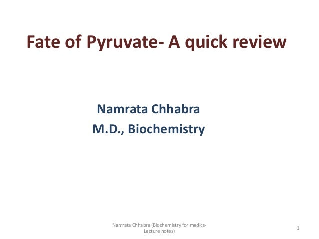 Fate of Pyruvate- A quick review Namrata Chhabra M.D., Biochemistry 1 Namrata Chhabra (Biochemistry for medics- Lecture no...