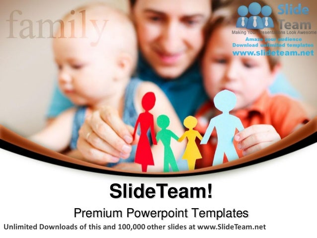 Father and children family power point themes templates and