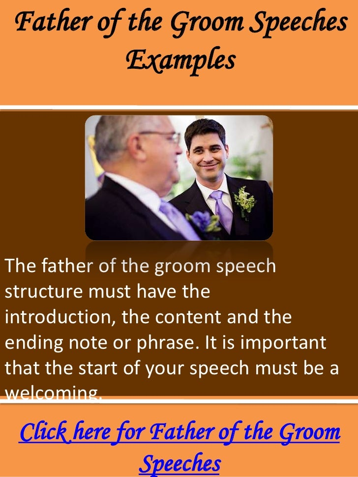 Father of the groom speeches examples
