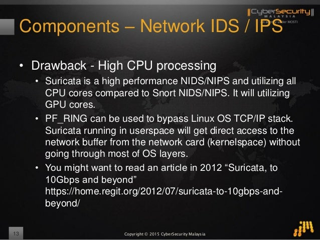 Copyright © 2015 CyberSecurity Malaysia Components – Network IDS / IPS • Drawback - High CPU processing • Suricata is a hi...