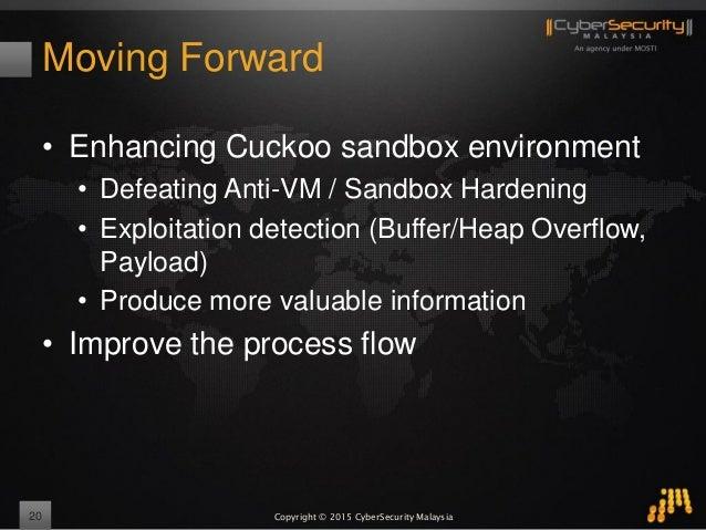 Copyright © 2015 CyberSecurity Malaysia Moving Forward • Enhancing Cuckoo sandbox environment • Defeating Anti-VM / Sandbo...