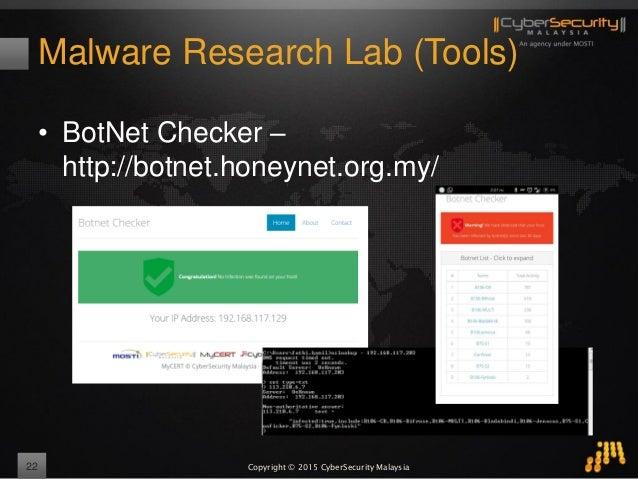 Copyright © 2015 CyberSecurity Malaysia Malware Research Lab (Tools) • BotNet Checker – http://botnet.honeynet.org.my/ 22