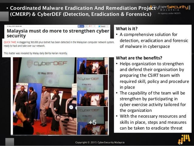 Copyright © 2015 CyberSecurity Malaysia • Coordinated Malware Eradication And Remediation Project (CMERP) & CyberDEF (Dete...