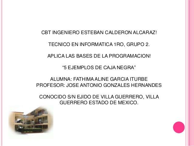 CBT INGENIERO ESTEBAN CALDERON ALCARAZ!   TECNICO EN INFORMATICA 1RO, GRUPO 2.   APLICA LAS BASES DE LA PROGRAMACION!     ...