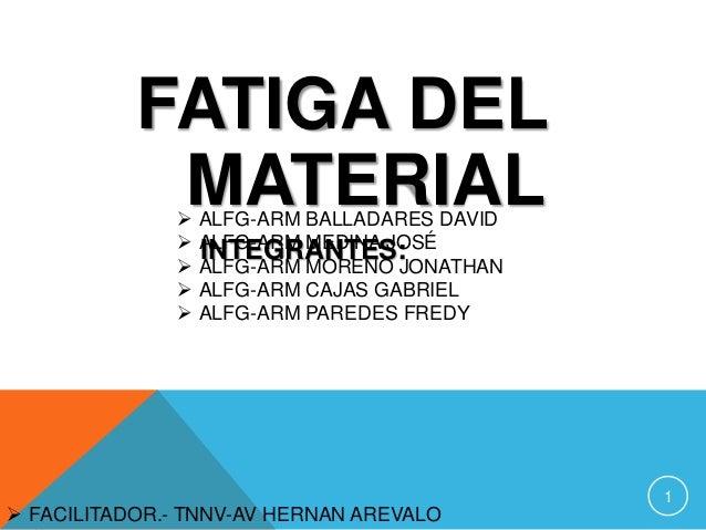 FATIGA DEL MATERIAL       ALFG-ARM BALLADARES DAVID ALFG-ARM MEDINA JOSÉ INTEGRANTES: ALFG-ARM MORENO JONATHAN ALFG-A...
