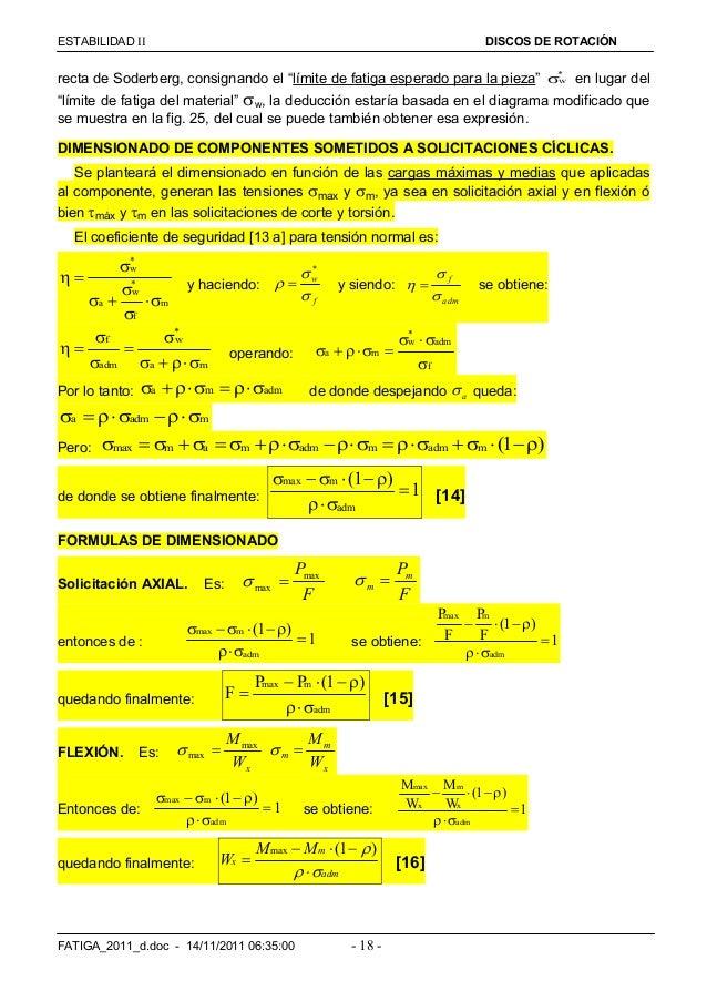 """ESTABILIDAD  DISCOS DE ROTACIÓN FATIGA_2011_d.doc - 14/11/2011 06:35:00 - 18 - recta de Soderberg, consignando el """"límit..."""