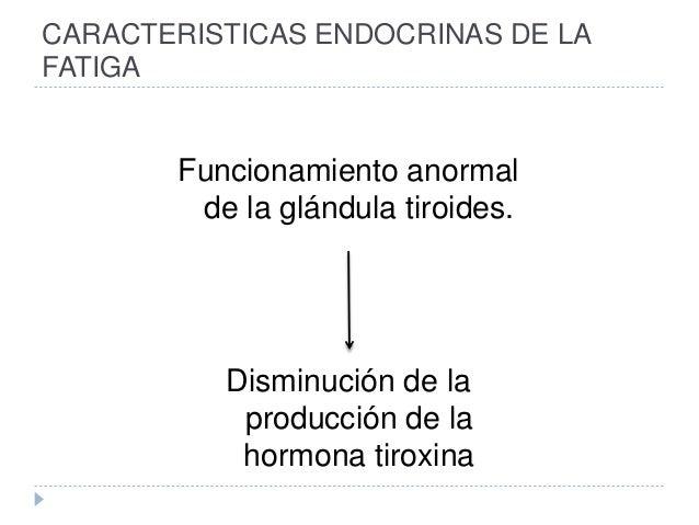 CARACTERISTICAS ENDOCRINAS DE LA FATIGA Funcionamiento anormal de la glándula tiroides. Disminución de la producción de la...