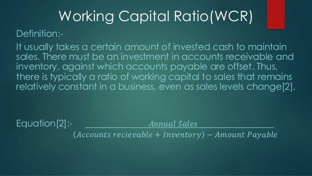 fixed asset turnover ratio and working capital ratio
