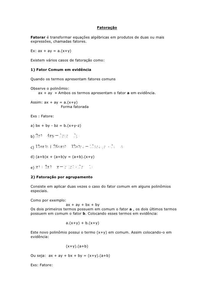 FatoraçãO E Sistemas De 1º Grau Em 27062009