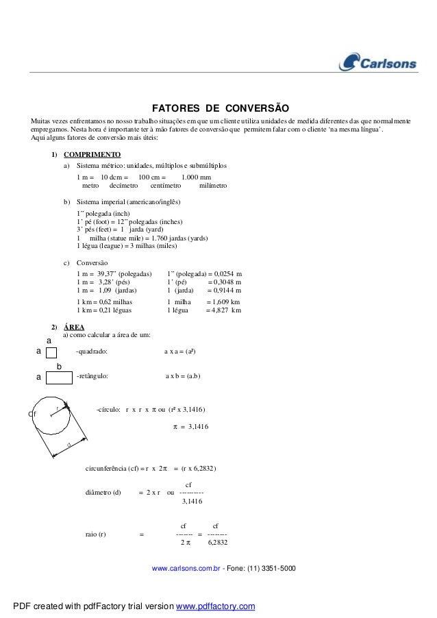 www.carlsons.com.br - Fone: (11) 3351-5000 FATORES DE CONVERSÃO Muitas vezes enfrentamos no nosso trabalho situações em qu...