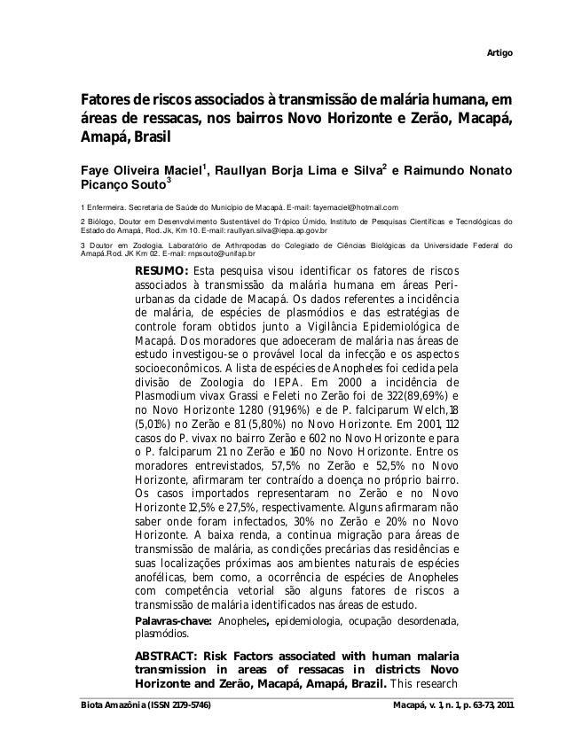 Artigo  Fatores de riscos associados à transmissão de malária humana, em  áreas de ressacas, nos bairros Novo Horizonte e ...