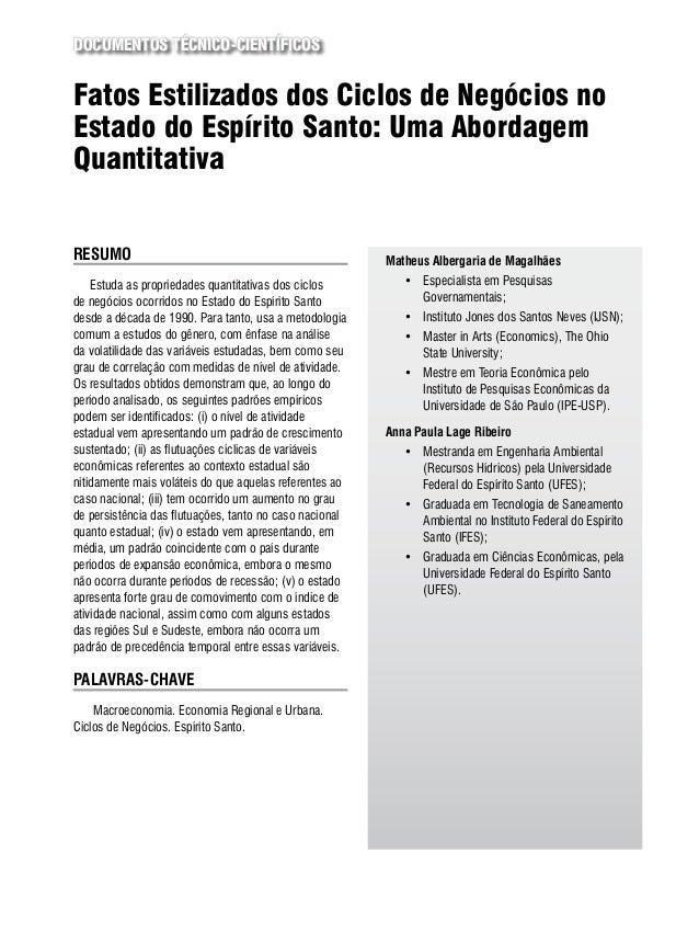 Documentos Técnico-Científicos  Fatos Estilizados dos Ciclos de Negócios no Estado do Espírito Santo: Uma Abordagem Quanti...