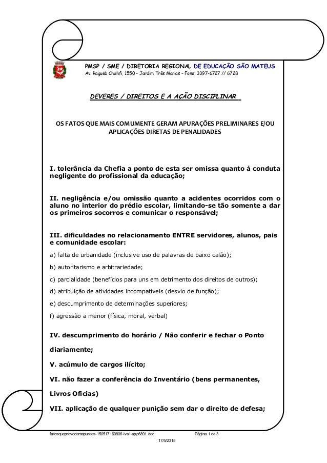 PMSP / SME / DIRETORIA REGIONAL DE EDUCAÇÃO SÃO MATEUS Av. Ragueb Chohfi, 1550 – Jardim Três Marias – Fone: 3397-6727 // 6...
