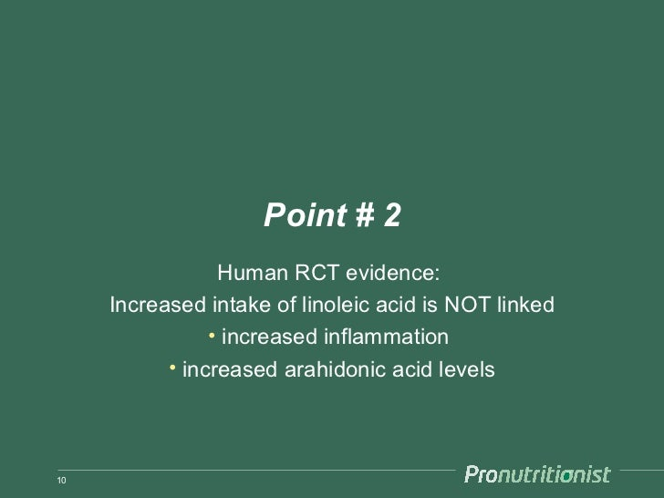 Point # 2                 Human RCT evidence:     Increased intake of linoleic acid is NOT linked                • increas...