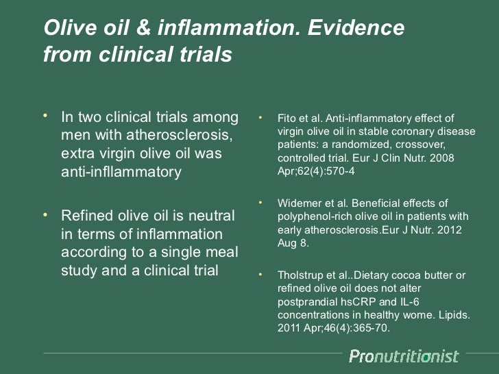 Olive oil & inflammation. Evidencefrom clinical trials• In two clinical trials among   •   Fito et al. Anti-inflammatory e...