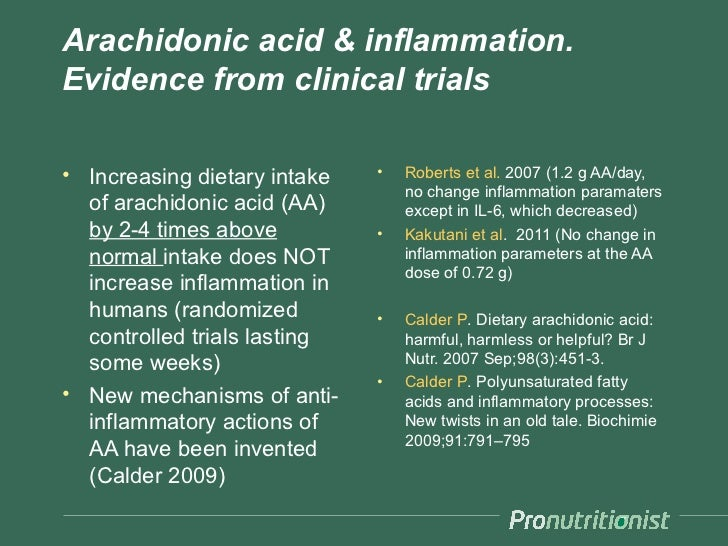 Arachidonic acid & inflammation.Evidence from clinical trials• Increasing dietary intake   •   Roberts et al. 2007 (1.2 g ...