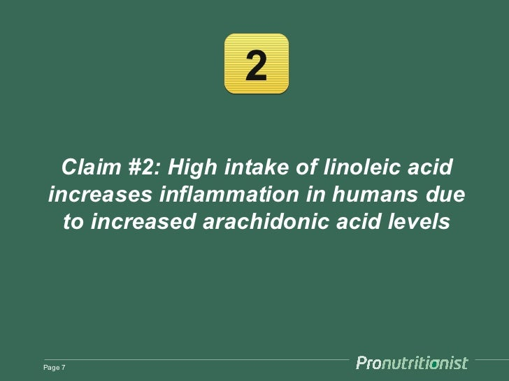 2  Claim #2: High intake of linoleic acid increases inflammation in humans due   to increased arachidonic acid levelsPage 7